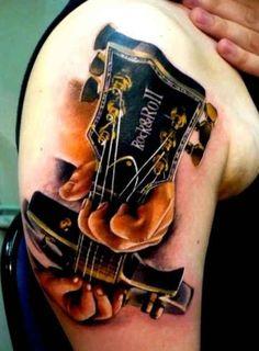 Tattoo Rock and Roll guitar  - http://tattootodesign.com/tattoo-rock-and-roll-guitar/  |  #Tattoo, #Tattooed, #Tattoos