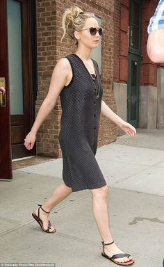 Out and about: Jennifer Lawrence was spotted leaving the Greenwich Hotel in New York on Th...