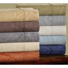 Superior 600 Thread Count Wrinkle-Resistant Luxury Cotton Italian Paisley Sheet Set, Brown