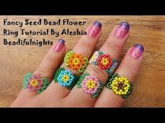 Fancy Seed Bead Flower Ring Tutorial, My Crafts and DIY Projects Seed Bead Flowers, Beaded Flowers, Peyote Ring, Armband, Seed Bead Jewelry, Jewelry Making Beads, Seed Beads, Beaded Jewelry, Ring Tutorial
