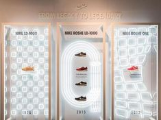 nike nrc - Google Search Window Display Design, Shoe Display, Shop Window Displays, Visual Merchandising, Project Purple, Nike Retail, Shoe Store Design, Exibition Design, Shoe Wall