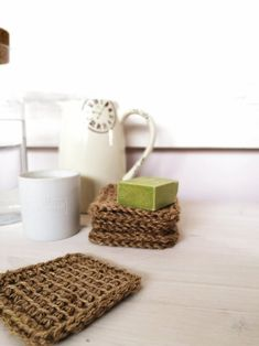 Tawashi kitchen accessories for dish cleaning, Kitchen washcloth made of natural jute, Eco-friendly biodegradable zero waste sponges – Eco-friendly swaps House Cleaning Tips, Cleaning Hacks, House Smell Good, Natural Cleaning Products, Zero Waste, Biodegradable Products, Dishes, Remove Stains, Kitchen Accessories