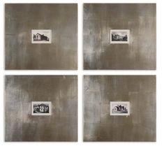 Uttermost Set of 4 Historical Buildings Framed Art Wide frames with a champagne silver leaf base and light brown glaze Framed Art Sets, Wall Art Sets, Framed Wall Art, Discount Bedroom Furniture, Homemakers Furniture, Stone Cottages, Architectural Prints, Vintage Industrial Decor, Black And White Prints