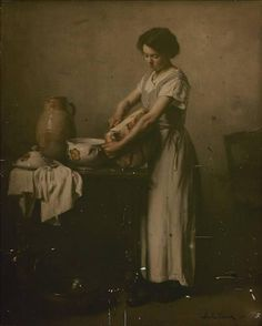 'Woman slicing bread for the soup' by Franck Bail, 1911 (Autochrome)