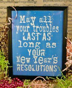 fun New Years eve Resolutions sign digital PDF -