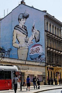 Street Art prague, loved it Street Wall Art, Murals Street Art, Best Graffiti, Street Art Graffiti, Graffiti Artwork, Mural Art, Yarn Bombing, Street Installation, Amazing Street Art