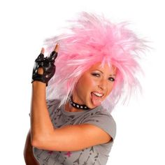 Womens Punk Rock Pink Wig Halloween Costume Accessories
