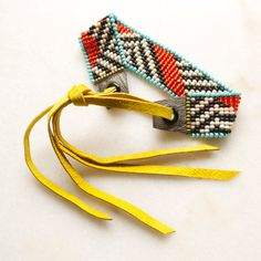 Loom Beaded Bracelet Beadwoven with Adjustable Leather Ties