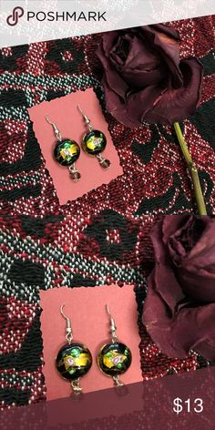 Rose beaded earrings Handmade rose earrings Jewelry