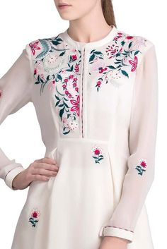 Shop AMPM Embroidered Asymmetric Shirt , Exclusive Indian Designer Latest Collections Available at Aza Fashions Latest Embroidery Designs, Kurti Embroidery Design, Hand Embroidery Dress, Embroidered Clothes, Embroidery Fashion, Embroidery Patterns, Embroidery Suits Punjabi, Kurta Neck Design, Kurta Designs Women