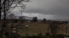 A wet and windy scene, under grey skies in Breakish, Highland.