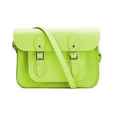 The Cambridge Satchel Company 11 Inch Classic Satchel - Fluoro Lime ($175) ❤ liked on Polyvore featuring bags, handbags, green leather handbag, green handbags, green purse, genuine leather purse and leather satchel purse