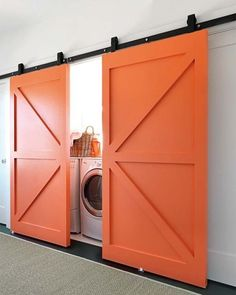 Beautiful barn doors keep this laundry room hidden from site. Barn doors are a definate in our soon to be home in the future. More and more loving the barn door look Hidden Laundry, Laundry Closet, Laundry Area, Laundry Rooms, Small Laundry, Basement Laundry, Garage Laundry, Concealed Laundry, Mud Rooms