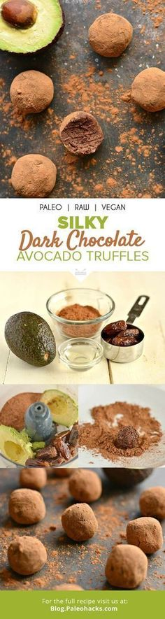 The secret behind these creamy chocolate truffles that taste sinfully good? A powerful, healthy ingredient: avocado! Get the recipe here: Desserts Crus, Raw Desserts, Paleo Dessert, Dessert Recipes, Chocolate Desserts, Paleo Chocolate, Vegan Sweets, Healthy Sweets, Healthy Snacks