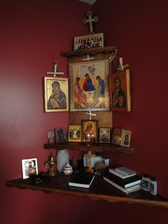Religious Images, Religious Icons, Home Altar Catholic, Orthodox Prayers, Prayer Corner, Personal Prayer, Home Icon, Religion, Prayer Room