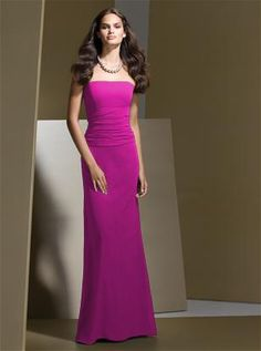 DESSY BRIDESMAID STYLE 2723 $210.00 Full-length strapless Nu-Georgette dress with shirred midriff and tie at the back. Sizes available 00-30W, and 00-30W extra length. http://www.modelbride.com/Dessy-Bridesmaid-Style-2723-Prodview.html