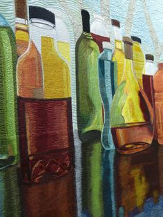 "Sara Sharp - Turning Bottles into ""Stained Glass""  (det) - SAQA exhibition ""Redirecting the Ordinary"""