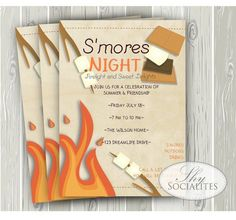 Smores Invitation Smores Camping Invitation Campfire with regard to Smores Invitations - Party Supplies Ideas Bonfire Birthday, Boy Birthday, Birthday Parties, 14th Birthday, Birthday Celebration, Camping Invitations, Birthday Invitations, Invites, Marshmallows