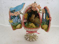 Vintage Easter Egg Decoration Panoramic Egg on Stand