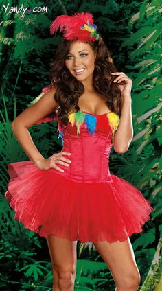 Sexy Halloween Costumes for Women, 2019 Adult Halloween Costume Ideas Parrot Costume, Peacock Costume, Bird Costume, Dance Costume, Red Corset Dress, Red Tutu Skirt, Dress Up, Costumes Sexy Halloween, Mardi Gras Costumes