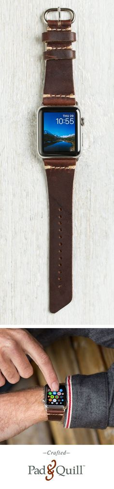 http://www.PadandQuill.com The Apple Watch really makes a statement. The Lowry Leather Band for Apple Watch makes and even bolder statement in the Pad & Quill way.  Made entirely in the USA, Horween Tannery produces the incredible leather for this Apple Watch band, and it is made right here on the banks of the Mississippi river in Minneapolis-St. Paul, Minnesota. Available now in multiple colors from Pad & Quill. #applewatch