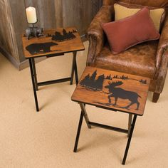 Set Of Two Wood TV Tray Tables And Rack Moose And Bear Hand Made Design  Rustic Cabin Decor | Pinterest | Rustic Cabin Decor, Tv Trays And Moose