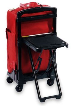 Luggage With a Built-In Seat! Designed by a former polio victim, the luggage handle allows for lean-on weight while walking and includes a fold-down seat! For more, click on photo!