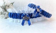 Police Wedding Garter - Bridal Garter Set - Blue Line Wedding - Personalized Garter - Personalized Charm - Something Blue.