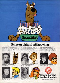 Scooby-Doo by Hanna-Barbera Anniversary Ad, 1979 Hanna Barbera, Old Cartoons, Classic Cartoons, Futurama, Live Action, Scooby Doo Mystery Incorporated, Video X, Saturday Morning Cartoons, Vintage Cartoon