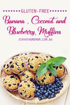 We're always on the look out for new muffin recipes and we love this delicious and healthy Gluten-Free Banana, Coconut and Blueberry Muffins that we recently discovered. Muffin Recipes, Baking Recipes, Whole Food Recipes, Snack Recipes, Dessert Recipes, Yummy Recipes, Healthy Recipes, Gluten Free Recipes For Kids, Desert Recipes
