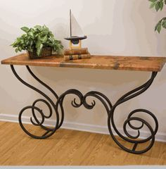 This Milan Console Table features a traditional wrought iron table base available in 4 finishes and your choice of x copper, red marble or white marble top. Iron Furniture, Steel Furniture, Wrought Iron Decor, Iron Table, Iron Work, Metal Crafts, Console Table, Decoration, Interior Decorating