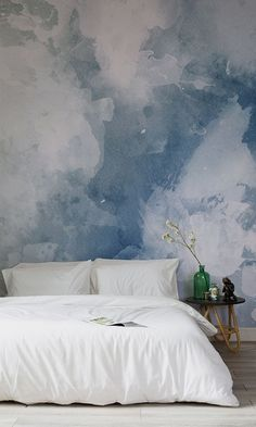 Renovation Spot saved to Basement RenovationsFall in love with this watercolor wallpaper design. Beautiful swashes of inky blues come together to give you a stylish yet modern look! Its versatile design and balanced colour make it perfect for any room. #homedesignideas #bedroom #bedroomideas