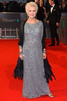 Reese Witherspoon, Rosamund Pike and more celebs attend the 2015 BAFTA Awards in London. Short Hair With Layers, Short Hair Cuts, Short Hair Styles, Grey Bob, Julie Walters, Grey Curly Hair, Fashion Over Fifty, Dedicated Follower Of Fashion, Celebrity Gallery