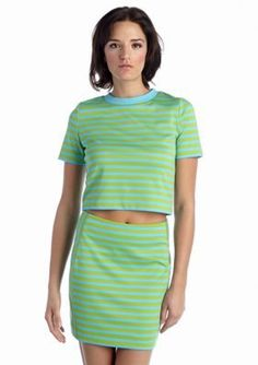 MICHAEL Michael Kors  Short Sleeve Striped Ponte Crop Top