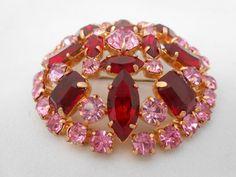 Pink & Red Round Dome Rhinestone Brooch/Pin by Libbysmomsvintage