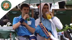That's why Novak Djokovic is a REAL champion - During a rain breack @ 2014 Roland Garros he lets a boy sit with him and also HE carries the umbrella and gives the kid his racket!