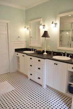 Coastal Cottage Bathroom.....love the fixtures and lamp