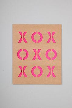 typo | die cut card. kraft + neon
