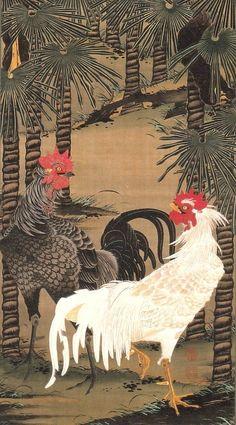 伊藤若冲「棕櫚雄鶏図」