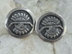 Hopi Kachina Sterling Overlay Button Earrings Pierced