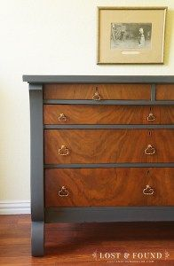 Fusion Paint - Ash Dresser Furniture Makeover: By salvaging the drawer fronts, I was able to still keep the stunning wood veneer, while covering up the irreparable damage to the base with a sleek, subdued color.
