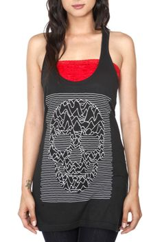 This black tank top features a skull graphic.