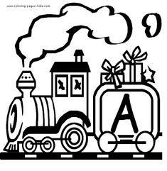 train letter alphabet coloring book page (printable)  Use for Uncle Mike or their wreath