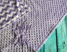 Personalized Minky Baby Blanket  Lavender by TheButtercupBoutique, $40.00