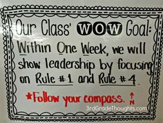 WOW Goals Creating Class WOW Goals- Within One Week- whole class goal and individual goal. this for GRIT/ Growth mindset. Also builds a class community of celebrating accomplishment and encouragementCreating Class WOW Goals- Within One Week- whole class 3rd Grade Classroom, School Classroom, Classroom Ideas, Classroom Organization, 3rd Grade Thoughts, Goal Setting For Students, Classroom Behavior Management, Class Management, Student Goals