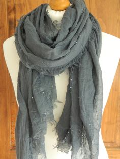 FINE FRAYED EDGE PEACH / GREY LAGENLOOK BOHEMIAN SCARF WRAP SHAWL FINE SEQUIN. Why not share the link....make sure you get what you're hoping for this Christmas!!