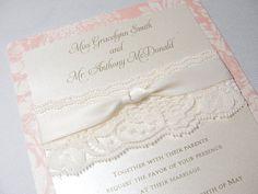 SOPHIA Real Lace Wedding Invitations por LavenderPaperie1 en Etsy