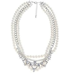 Silver Diamante Pearl Triple Row Necklace ($13) ❤ liked on Polyvore