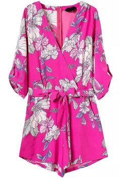 Rose Red V Neck Tie-waist Floral Jumpsuit