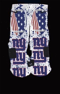 Ny+Giants Custom+Nike+Elite+Socks  Each+pair+is+custom+created+when+you+order.+There+are+minor+flaws+in+each+creation+--+no+two+socks+are+the+same.  These+are+authentic+Nike+Elite+socks+for+sale.+The+design+on+the+sock+was+not+created+by+Nike,+but+was+created+and+customized+by+me.+This+is+a+...